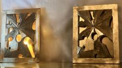 Late20th Century Pair of Brutalist Bronze Brass Sconces w Purple Agate Cameos - 1631661