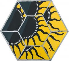 Laurence Calabuig ENDLESS REFLECTIONS GREEN YELLOW POLYNESIAN SUN ART DECO Hexagonal painting - 1505931
