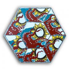 Laurence Calabuig ENDLESS REFLECTIONS L V OCTOPUSS Hexagonal painting - 1504386