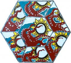 Laurence Calabuig ENDLESS REFLECTIONS L V OCTOPUSS Hexagonal painting - 1505932
