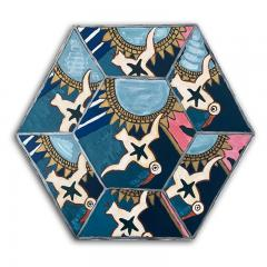 Laurence Calabuig ENDLESS REFLECTIONS LA ROUE DE LA FORTUNE Hexagonal painting - 1504504