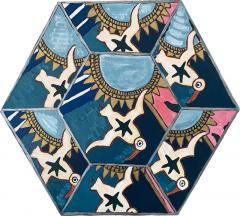 Laurence Calabuig ENDLESS REFLECTIONS LA ROUE DE LA FORTUNE Hexagonal painting - 1505940