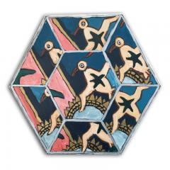 Laurence Calabuig ENDLESS REFLECTIONS LA ROUE DE LA FORTUNE PINK TATOO Hexagonal painting - 1504453