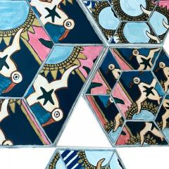 Laurence Calabuig ENDLESS REFLECTIONS LA ROUE DE LA FORTUNE PINK TATOO Hexagonal painting - 1504454