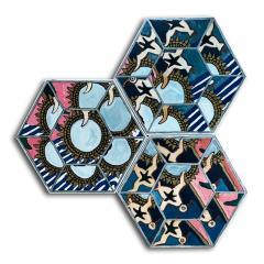 Laurence Calabuig ENDLESS REFLECTIONS LA ROUE DE LA FORTUNE PINK TATOO Hexagonal painting - 1504455