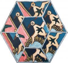 Laurence Calabuig ENDLESS REFLECTIONS LA ROUE DE LA FORTUNE PINK TATOO Hexagonal painting - 1505939