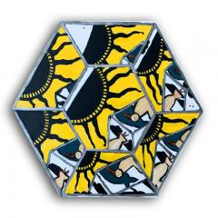 Laurence Calabuig ENDLESS REFLECTIONS POLYNESIAN ART DECO YELLOW Hexagonal painting - 1504388