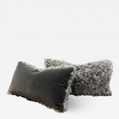 Lawton Mull Pillows of Gotland Lambskin and Mohair Velvet - 1766176
