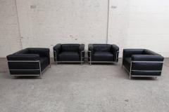 Le Corbusier Jeanneret Perriand Pair of LC3 Le Corbusier Black Poltrona Lounge Chairs - 447966