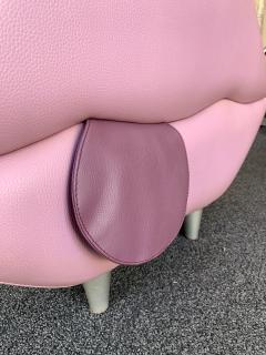 Leather Mouth Pouf Stool Italy 1990s - 1597848