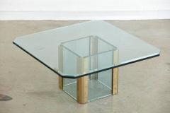 Leon Rosen Brass Coffee Table with an Octagonal Beveled Glass Top by Leon Rosen for Pace - 298780