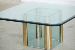 Leon Rosen Brass Coffee Table with an Octagonal Beveled Glass Top by Leon Rosen for Pace - 298785