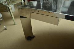 Leon Rosen Fabulous Mid Century Polished Steel Desk with Black Marble Top by Leon Rosen - 467383