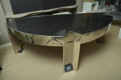 Leon Rosen Fabulous Mid Century Polished Steel Desk with Black Marble Top by Leon Rosen - 467384