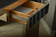 Leon Rosen Fabulous Mid Century Polished Steel Desk with Black Marble Top by Leon Rosen - 483652