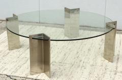 Leon Rosen Leon Rosen For Pace Modernist Steel And Glass Coffee Table - 2101595