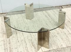 Leon Rosen Leon Rosen For Pace Modernist Steel And Glass Coffee Table - 2101601