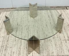 Leon Rosen Leon Rosen For Pace Modernist Steel And Glass Coffee Table - 2101605