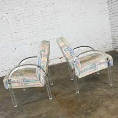 Leon Rosen Modern lucite waterfall side chairs attributed to leon rosen - 2066127