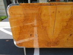 Leon Rosen Outstanding Pace Collection Burl and Chrome Credenza Leon Rosen - 1138689