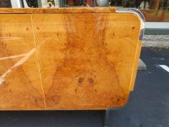 Leon Rosen Outstanding Pace Collection Burl and Chrome Credenza Leon Rosen - 1138690