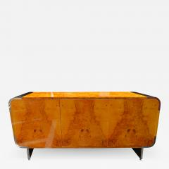 Leon Rosen Outstanding Pace Collection Burl and Chrome Credenza Leon Rosen - 1139070