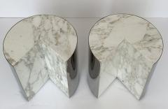 Leon Rosen Pair of Pace Collection Marble and Steel Pie Shaped Side Tables - 1108005