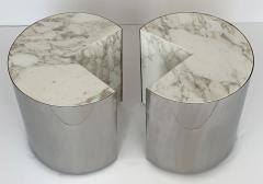 Leon Rosen Pair of Pace Collection Marble and Steel Pie Shaped Side Tables - 1108006