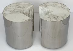 Leon Rosen Pair of Pace Collection Marble and Steel Pie Shaped Side Tables - 1108007