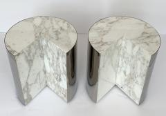 Leon Rosen Pair of Pace Collection Marble and Steel Pie Shaped Side Tables - 1108009