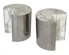 Leon Rosen Pair of Pace Collection Marble and Steel Pie Shaped Side Tables - 1108010