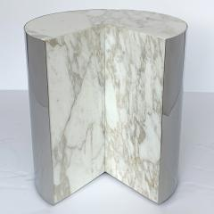 Leon Rosen Pair of Pace Collection Marble and Steel Pie Shaped Side Tables - 1108011