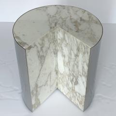 Leon Rosen Pair of Pace Collection Marble and Steel Pie Shaped Side Tables - 1108012