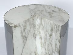 Leon Rosen Pair of Pace Collection Marble and Steel Pie Shaped Side Tables - 1108013