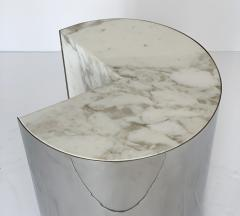 Leon Rosen Pair of Pace Collection Marble and Steel Pie Shaped Side Tables - 1108014