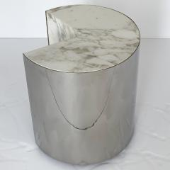 Leon Rosen Pair of Pace Collection Marble and Steel Pie Shaped Side Tables - 1108015
