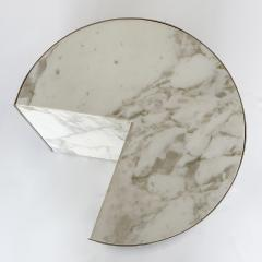Leon Rosen Pair of Pace Collection Marble and Steel Pie Shaped Side Tables - 1108016