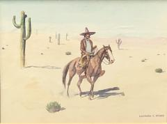 Leonard Howard Reedy Vaquero on Horseback in Desert with Joshua Trees - 2019832