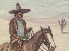 Leonard Howard Reedy Vaquero on Horseback in Desert with Joshua Trees - 2019834