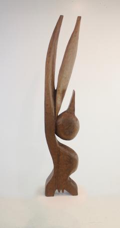 Leonard Setziol Abstract Sphinx Cedar Sculpture by Northwest Sculptor Leonard Setziol - 1773235