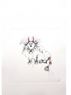 Leonor Fini Leonor Fini Magical Cat Original Etching 1985 - 1075343