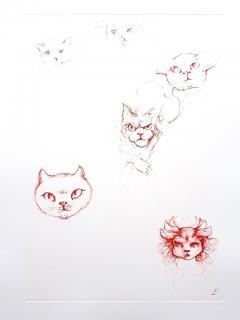 Leonor Fini Leonor Fini Red Cats Original Etching 1985 - 1075302