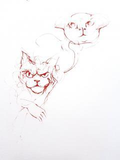 Leonor Fini Leonor Fini Red Cats Original Etching 1985 - 1075306