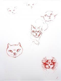 Leonor Fini Leonor Fini Red Cats Original Etching 1985 - 1075307