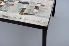 Les 2 Potiers Michelle et Jacques Serre Glazed Ceramic Tile Top Table with Metal Base - 1086738
