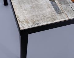 Les 2 Potiers Michelle et Jacques Serre Glazed Ceramic Tile Top Table with Metal Base - 1086740
