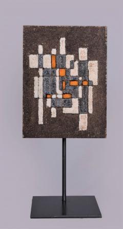 Les 2 Potiers Michelle et Jacques Serre Panneau Abstrait Abstract Decorative Enameled Lava Stone Panel - 1086756