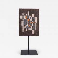 Les 2 Potiers Michelle et Jacques Serre Panneau Abstrait Abstract Decorative Enameled Lava Stone Panel - 1088094