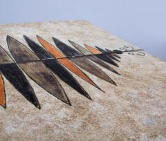Les 2 Potiers Michelle et Jacques Serre Side Table Enameled lava stone with wood base - 1086710