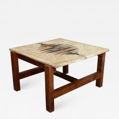 Les 2 Potiers Michelle et Jacques Serre Side Table Enameled lava stone with wood base - 1088092